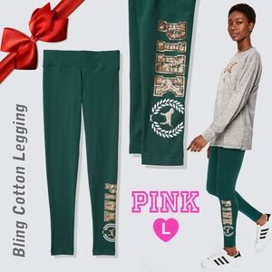 VS PINK  Green Bling Cotton Leggins L